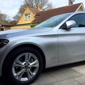 Completed large paint repair, Mercedes C Class, Horsham